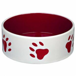 Trixie-Keramiknapf-mit-Pfoten-creme-rot,37498,2,4,7p-700x700